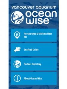バンクーバー水族館がアプリ刷新 環境に優しいシーフード選びの手助けに 環境に優しいシーフード選びの手助けになるアプリ「オーシャンワイズ(Ocean Wise)」ホーム画面 Screen shot by : Vancouver Aquarium